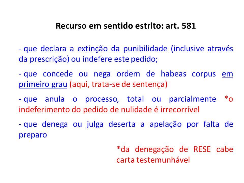 Recurso em sentido estrito: art. 581 - que declara a extinção da punibilidade (inclusive através da prescrição) ou indefere este pedido; - que concede