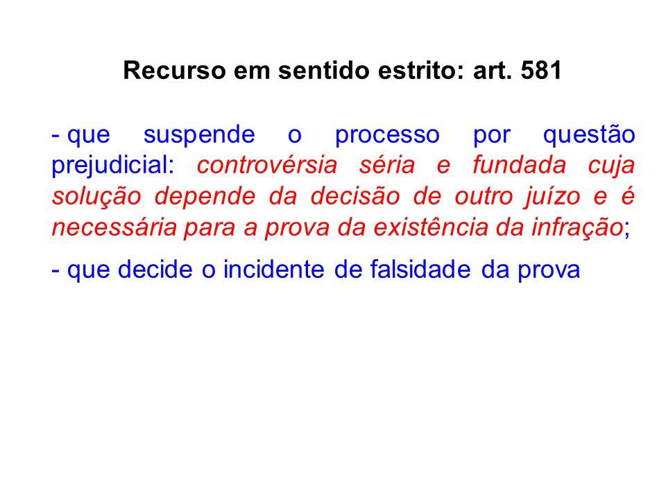 Recurso em sentido estrito: art. 581 - que suspende o processo por questão prejudicial: controvérsia séria e fundada cuja solução depende da decisão d