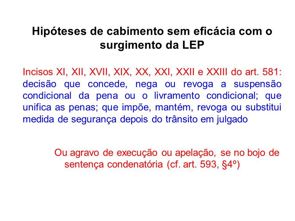 Hipóteses de cabimento sem eficácia com o surgimento da LEP Incisos XI, XII, XVII, XIX, XX, XXI, XXII e XXIII do art.
