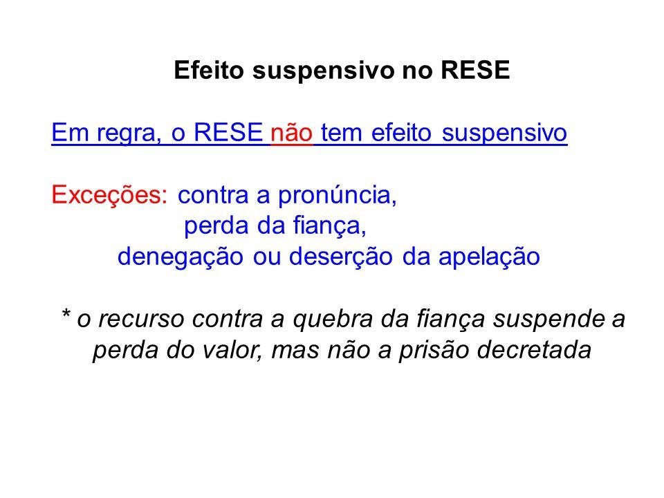 Efeito suspensivo no RESE Em regra, o RESE não tem efeito suspensivo Exceções: contra a pronúncia, perda da fiança, denegação ou deserção da apelação