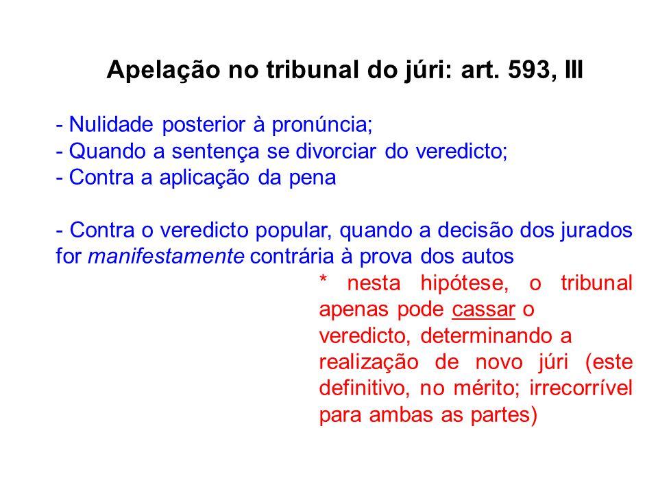 Apelação no tribunal do júri: art. 593, III - Nulidade posterior à pronúncia; - Quando a sentença se divorciar do veredicto; - Contra a aplicação da p
