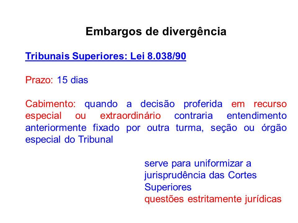 Embargos de divergência Tribunais Superiores: Lei 8.038/90 Prazo: 15 dias Cabimento: quando a decisão proferida em recurso especial ou extraordinário