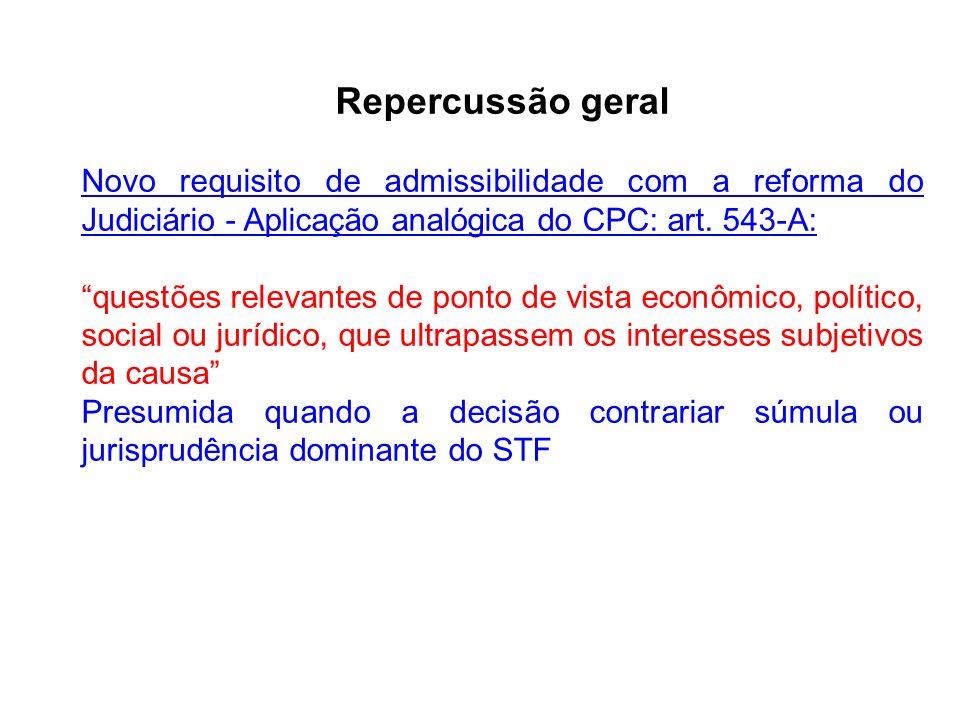 Repercussão geral Novo requisito de admissibilidade com a reforma do Judiciário - Aplicação analógica do CPC: art.