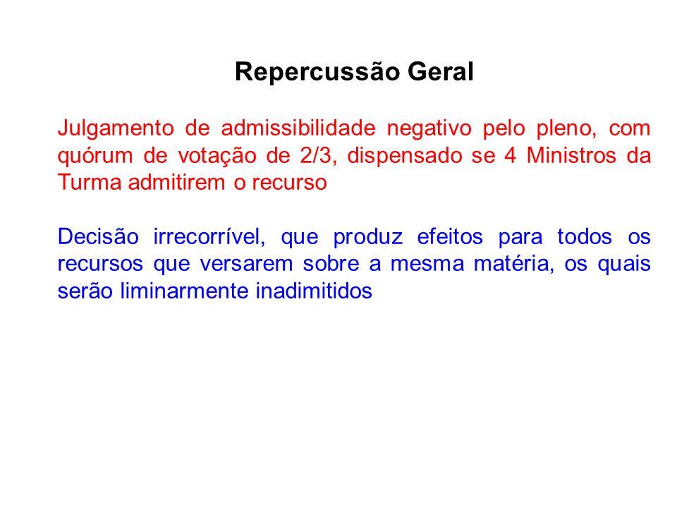 Repercussão Geral Julgamento de admissibilidade negativo pelo pleno, com quórum de votação de 2/3, dispensado se 4 Ministros da Turma admitirem o recu