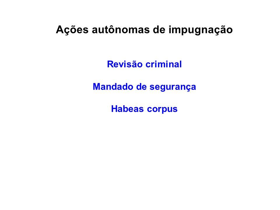 Ações autônomas de impugnação Revisão criminal Mandado de segurança Habeas corpus