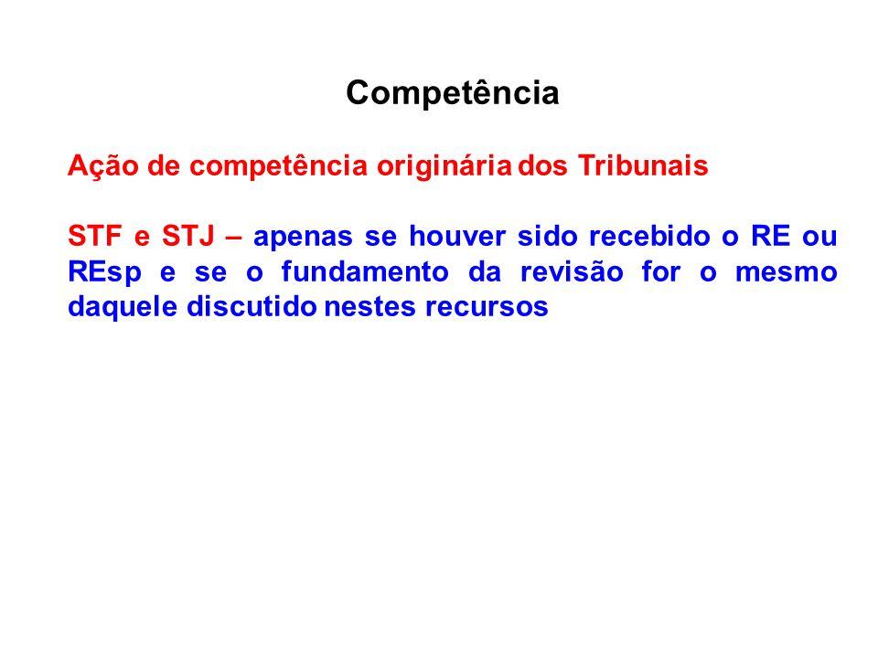 Competência Ação de competência originária dos Tribunais STF e STJ – apenas se houver sido recebido o RE ou REsp e se o fundamento da revisão for o me