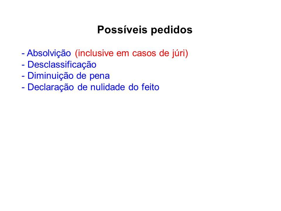 Possíveis pedidos - Absolvição (inclusive em casos de júri) - Desclassificação - Diminuição de pena - Declaração de nulidade do feito