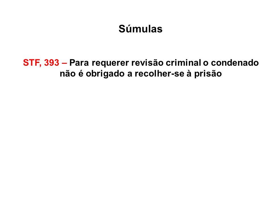 Súmulas STF, 393 – Para requerer revisão criminal o condenado não é obrigado a recolher-se à prisão