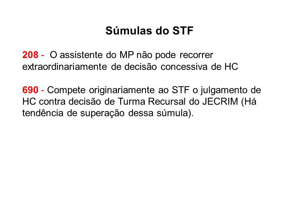 Súmulas do STF 208 - O assistente do MP não pode recorrer extraordinariamente de decisão concessiva de HC 690 - Compete originariamente ao STF o julgamento de HC contra decisão de Turma Recursal do JECRIM (Há tendência de superação dessa súmula).