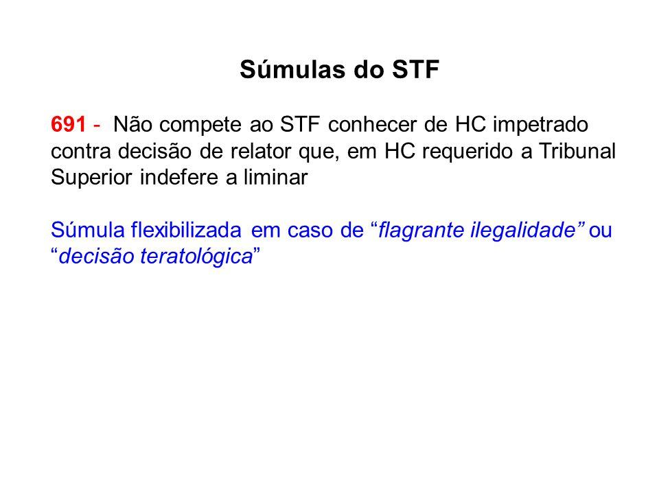 Súmulas do STF 691 - Não compete ao STF conhecer de HC impetrado contra decisão de relator que, em HC requerido a Tribunal Superior indefere a liminar