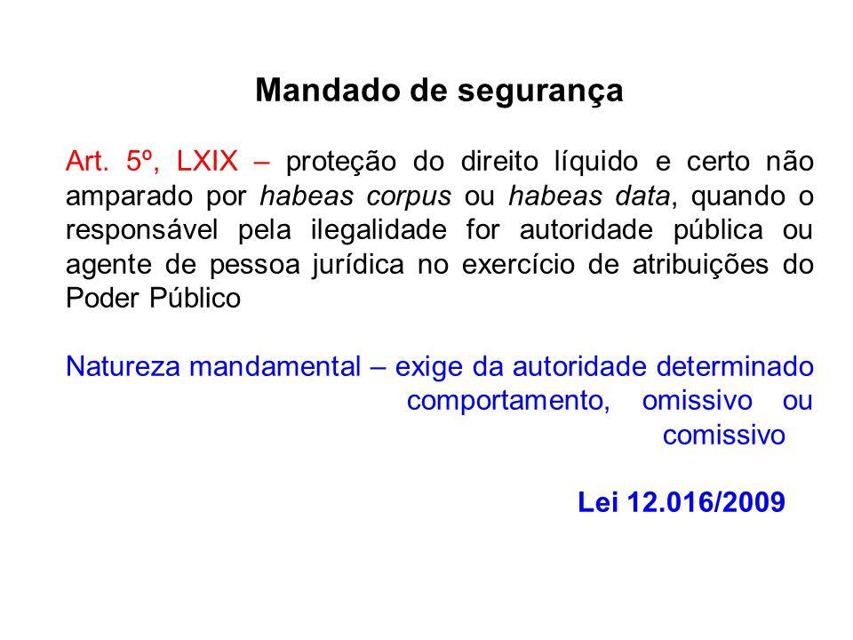 Mandado de segurança Art. 5º, LXIX – proteção do direito líquido e certo não amparado por habeas corpus ou habeas data, quando o responsável pela ileg