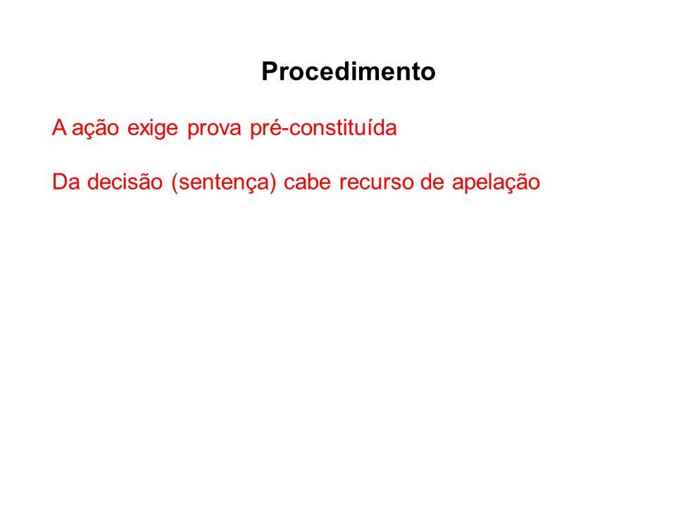 Procedimento A ação exige prova pré-constituída Da decisão (sentença) cabe recurso de apelação