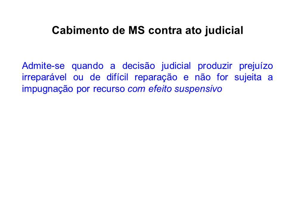 Cabimento de MS contra ato judicial Admite-se quando a decisão judicial produzir prejuízo irreparável ou de difícil reparação e não for sujeita a impugnação por recurso com efeito suspensivo