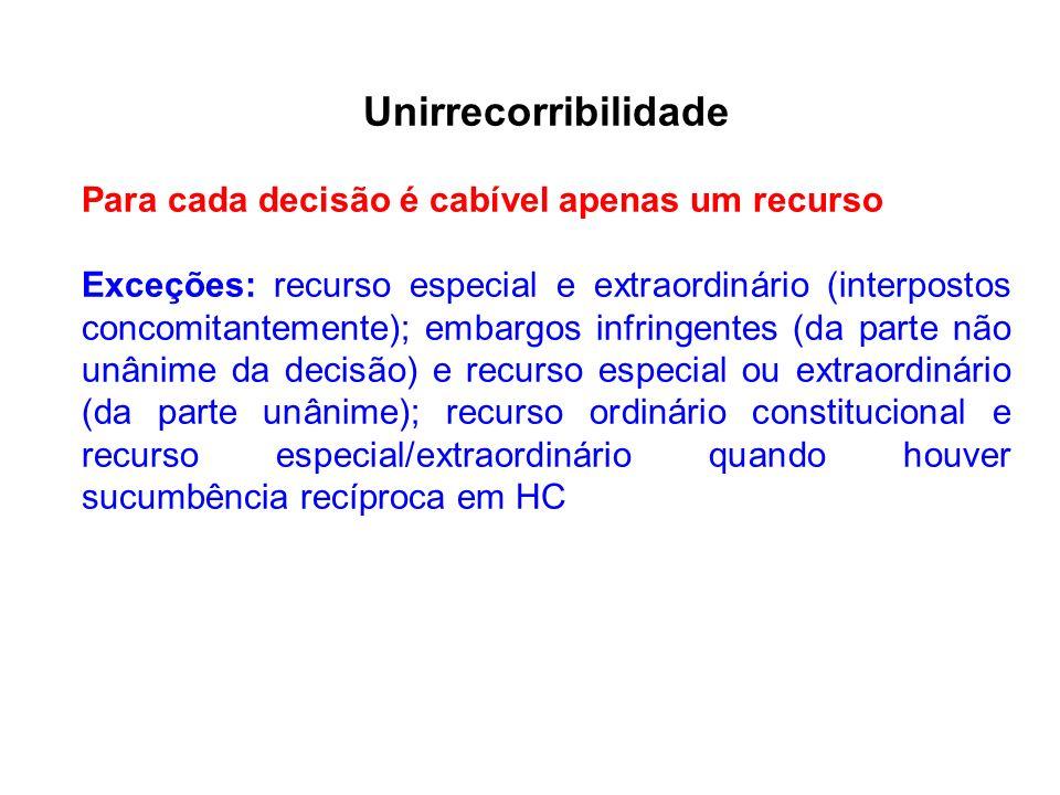Unirrecorribilidade Para cada decisão é cabível apenas um recurso Exceções: recurso especial e extraordinário (interpostos concomitantemente); embargo