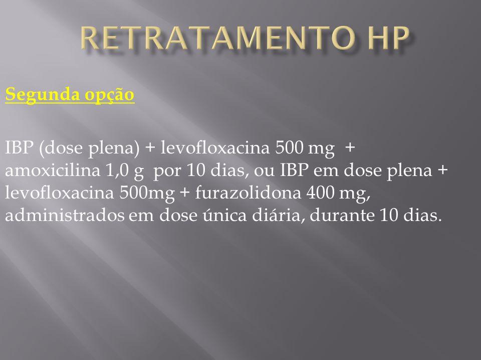Segunda opção IBP (dose plena) + levofloxacina 500 mg + amoxicilina 1,0 g por 10 dias, ou IBP em dose plena + levofloxacina 500mg + furazolidona 400 mg, administrados em dose única diária, durante 10 dias.