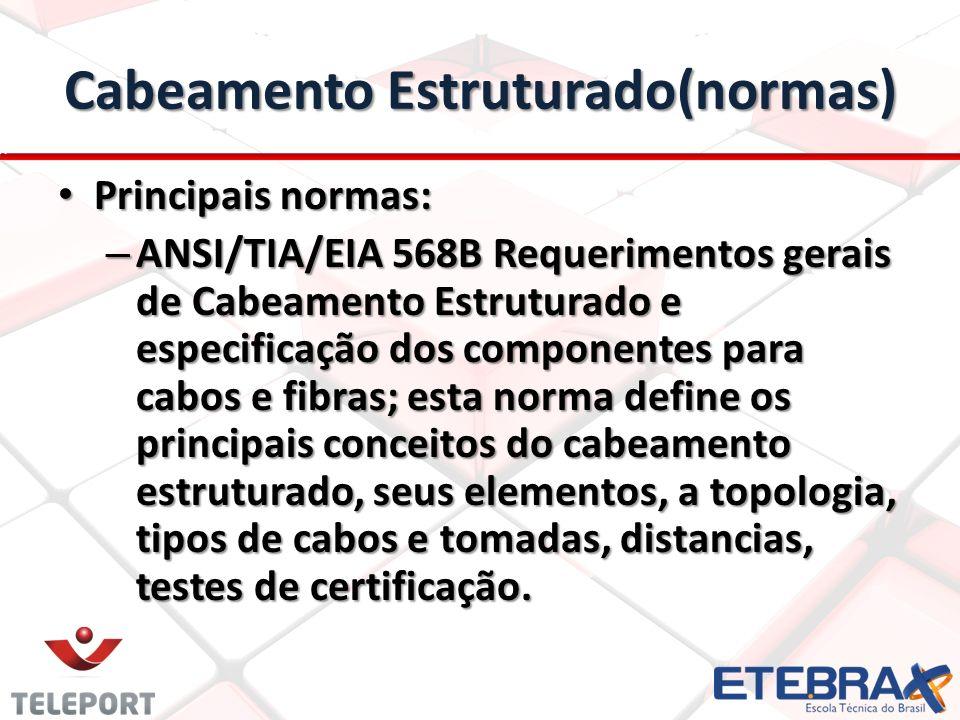 Cabeamento Estruturado(normas) Principais normas: Principais normas: – ANSI/TIA/EIA 568B Requerimentos gerais de Cabeamento Estruturado e especificaçã