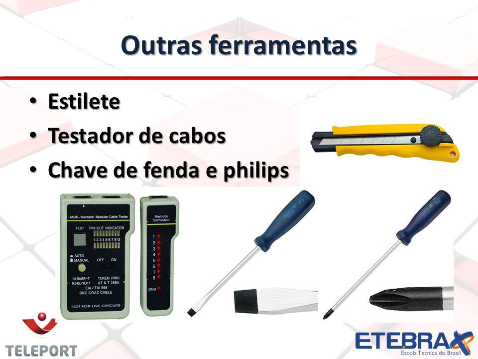 Outras ferramentas Estilete Estilete Testador de cabos Testador de cabos Chave de fenda e philips Chave de fenda e philips