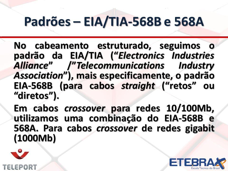 Padrões – EIA/TIA-568B e 568A No cabeamento estruturado, seguimos o padrão da EIA/TIA (Electronics Industries Alliance /Telecommunications Industry As