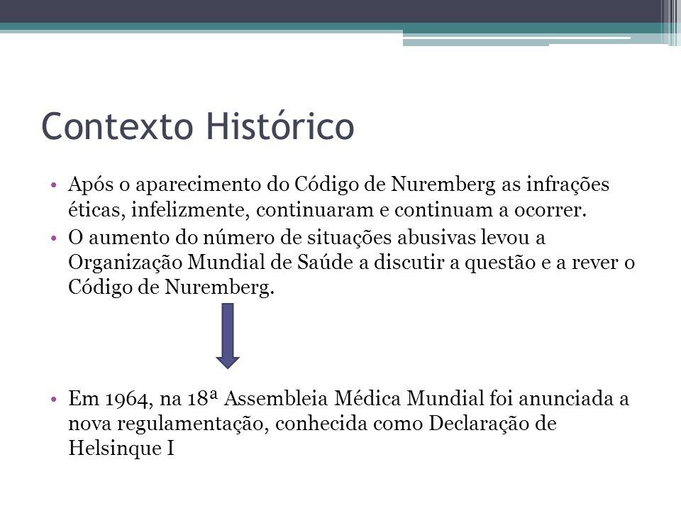 Contexto Histórico Após o aparecimento do Código de Nuremberg as infrações éticas, infelizmente, continuaram e continuam a ocorrer. O aumento do númer