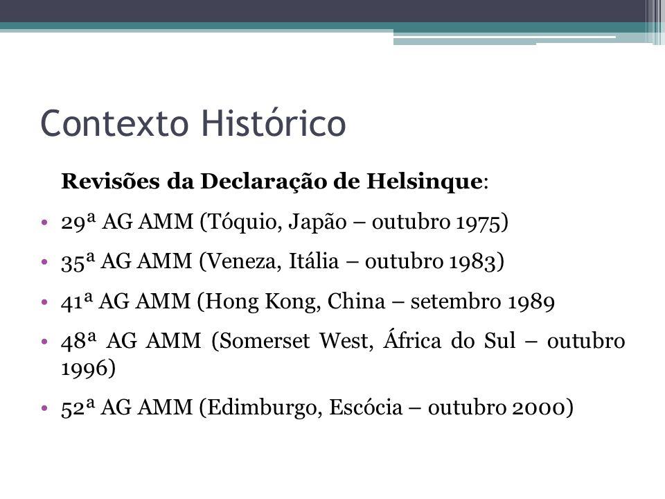 Contexto Histórico Revisões da Declaração de Helsinque: 29ª AG AMM (Tóquio, Japão – outubro 1975) 35ª AG AMM (Veneza, Itália – outubro 1983) 41ª AG AM