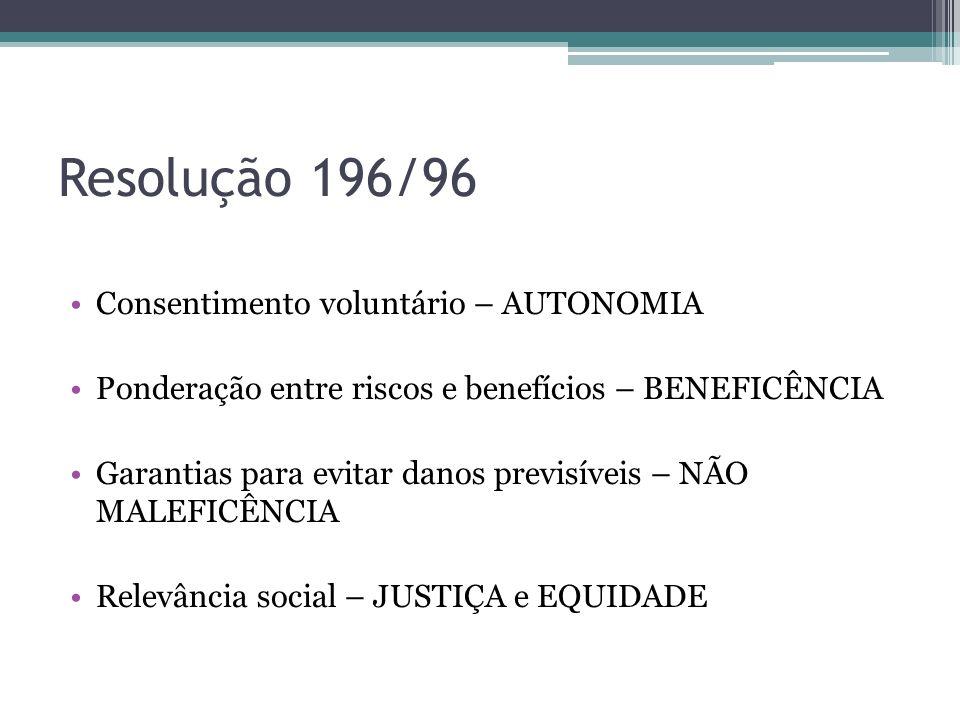 Resolução 196/96 Consentimento voluntário – AUTONOMIA Ponderação entre riscos e benefícios – BENEFICÊNCIA Garantias para evitar danos previsíveis – NÃ