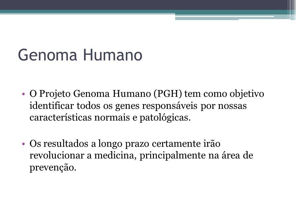 Genoma Humano O Projeto Genoma Humano (PGH) tem como objetivo identificar todos os genes responsáveis por nossas características normais e patológicas