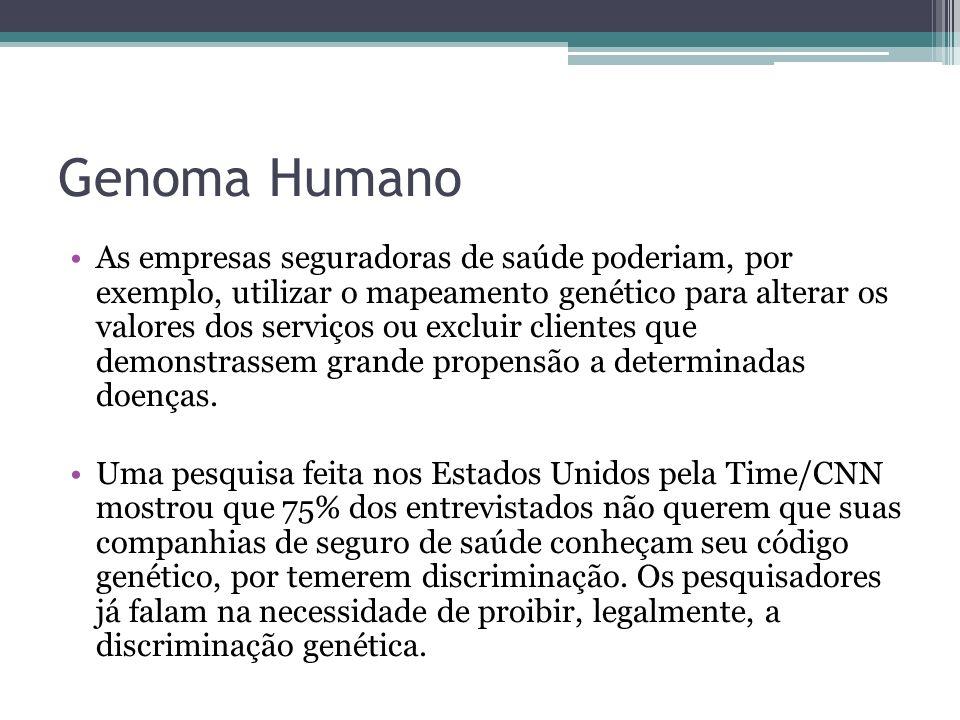 Genoma Humano As empresas seguradoras de saúde poderiam, por exemplo, utilizar o mapeamento genético para alterar os valores dos serviços ou excluir c