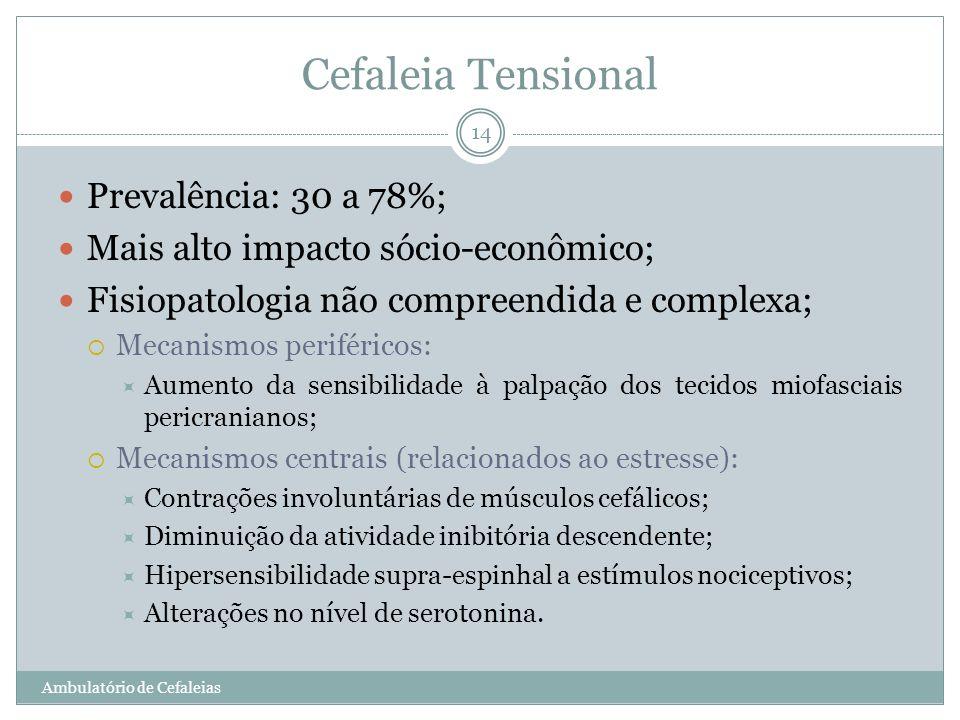 Cefaleia Tensional Prevalência: 30 a 78%; Mais alto impacto sócio-econômico; Fisiopatologia não compreendida e complexa; Mecanismos periféricos: Aumen
