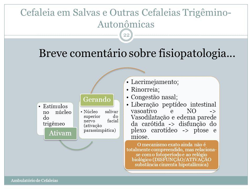 Estímulos no núcleo do trigêmeo Ativam Núcleo salivar superior do nervo facial (ativação parassimpática) Gerando Lacrimejamento; Rinorreia; Congestão