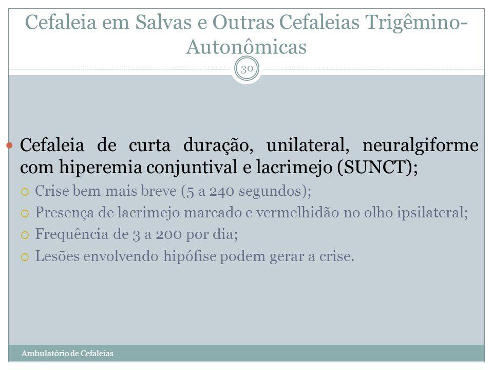 Cefaleia em Salvas e Outras Cefaleias Trigêmino- Autonômicas Cefaleia de curta duração, unilateral, neuralgiforme com hiperemia conjuntival e lacrimej
