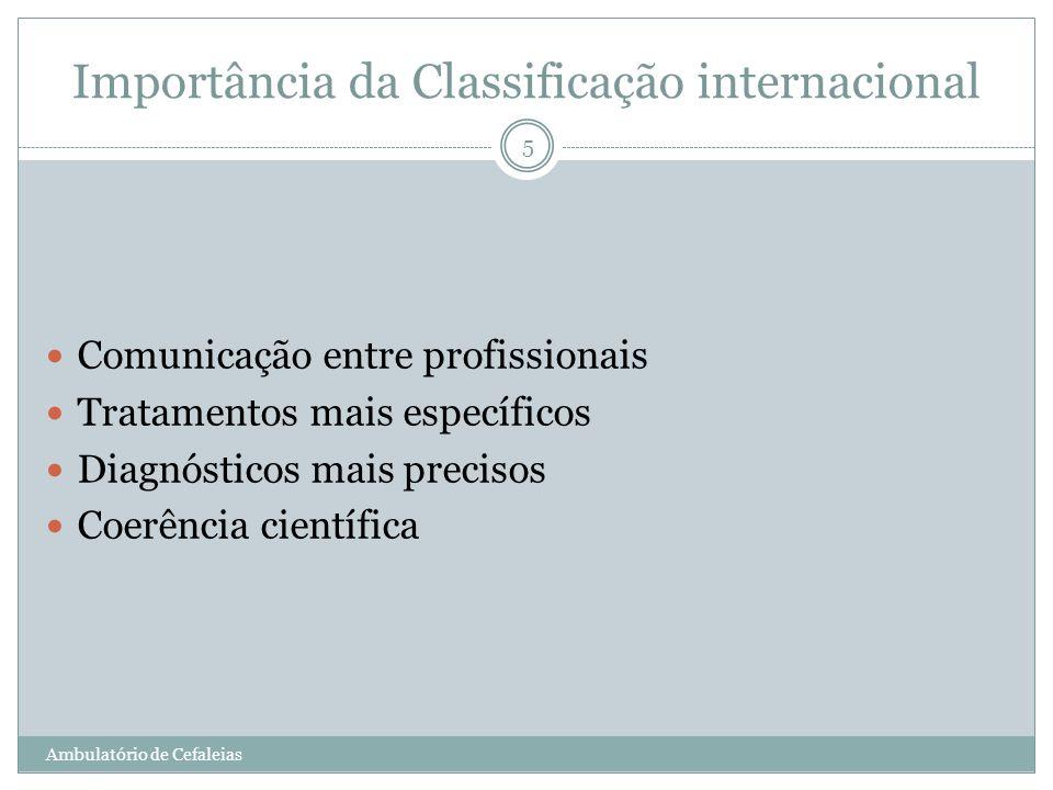 Importância da Classificação internacional Comunicação entre profissionais Tratamentos mais específicos Diagnósticos mais precisos Coerência científic
