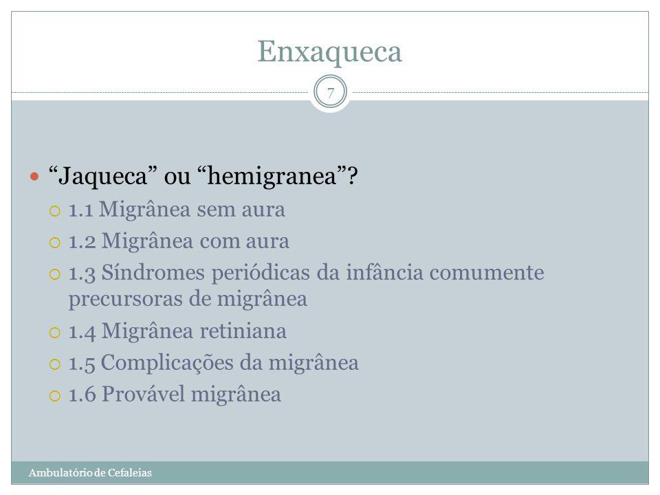 Enxaqueca Jaqueca ou hemigranea? 1.1 Migrânea sem aura 1.2 Migrânea com aura 1.3 Síndromes periódicas da infância comumente precursoras de migrânea 1.