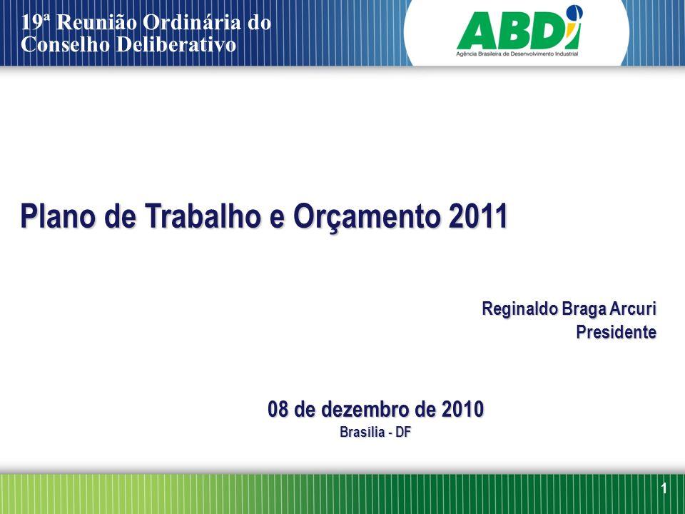 Plano de Trabalho e Orçamento 2011 Reginaldo Braga Arcuri Presidente 08 de dezembro de 2010 Brasília - DF 1 19ª Reunião Ordinária do Conselho Delibera