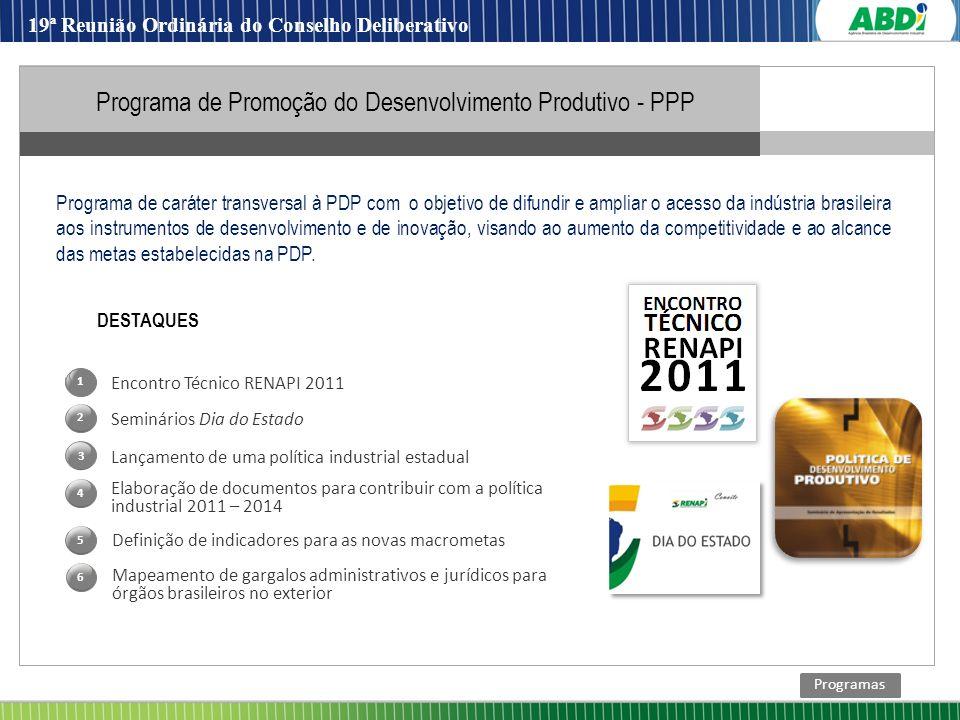 Encontro Técnico RENAPI 2011 Lançamento de uma política industrial estadual Seminários Dia do Estado Elaboração de documentos para contribuir com a po