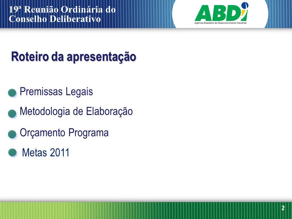 2 Premissas Legais Metodologia de Elaboração Orçamento Programa Metas 2011 Roteiro da apresentação 19ª Reunião Ordinária do Conselho Deliberativo