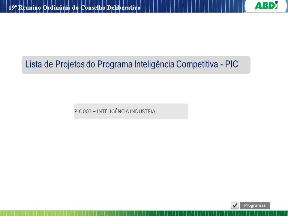 PIC 003 – INTELIGÊNCIA INDUSTRIAL Lista de Projetos do Programa Inteligência Competitiva - PIC Programas 19ª Reunião Ordinária do Conselho Deliberativ