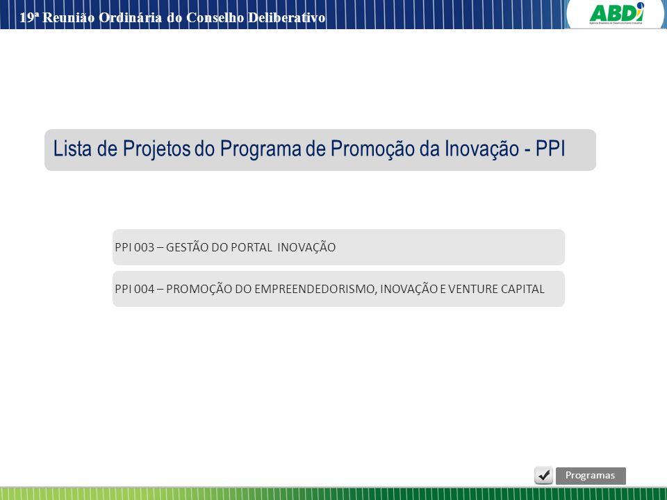 PPI 004 – PROMOÇÃO DO EMPREENDEDORISMO, INOVAÇÃO E VENTURE CAPITAL PPI 003 – GESTÃO DO PORTAL INOVAÇÃO Lista de Projetos do Programa de Promoção da In