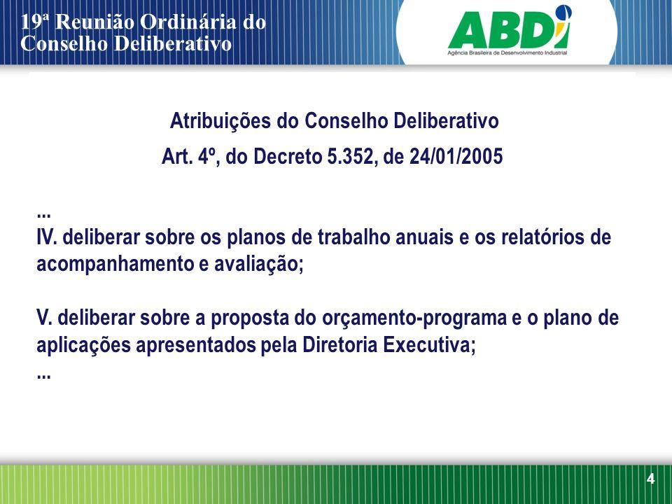 4 Atribuições do Conselho Deliberativo Art. 4º, do Decreto 5.352, de 24/01/2005... IV. deliberar sobre os planos de trabalho anuais e os relatórios de