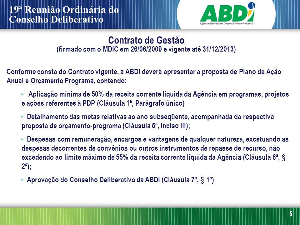 5 Conforme consta do Contrato vigente, a ABDI deverá apresentar a proposta de Plano de Ação Anual e Orçamento Programa, contendo: Aplicação mínima de