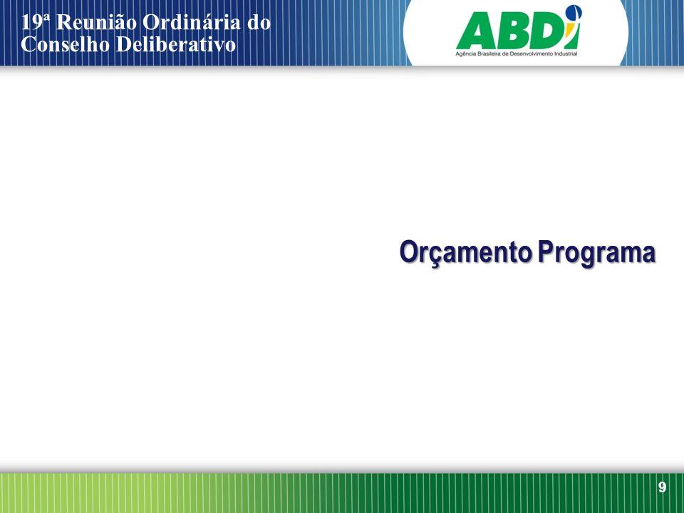 Orçamento Programa 9 19ª Reunião Ordinária do Conselho Deliberativo
