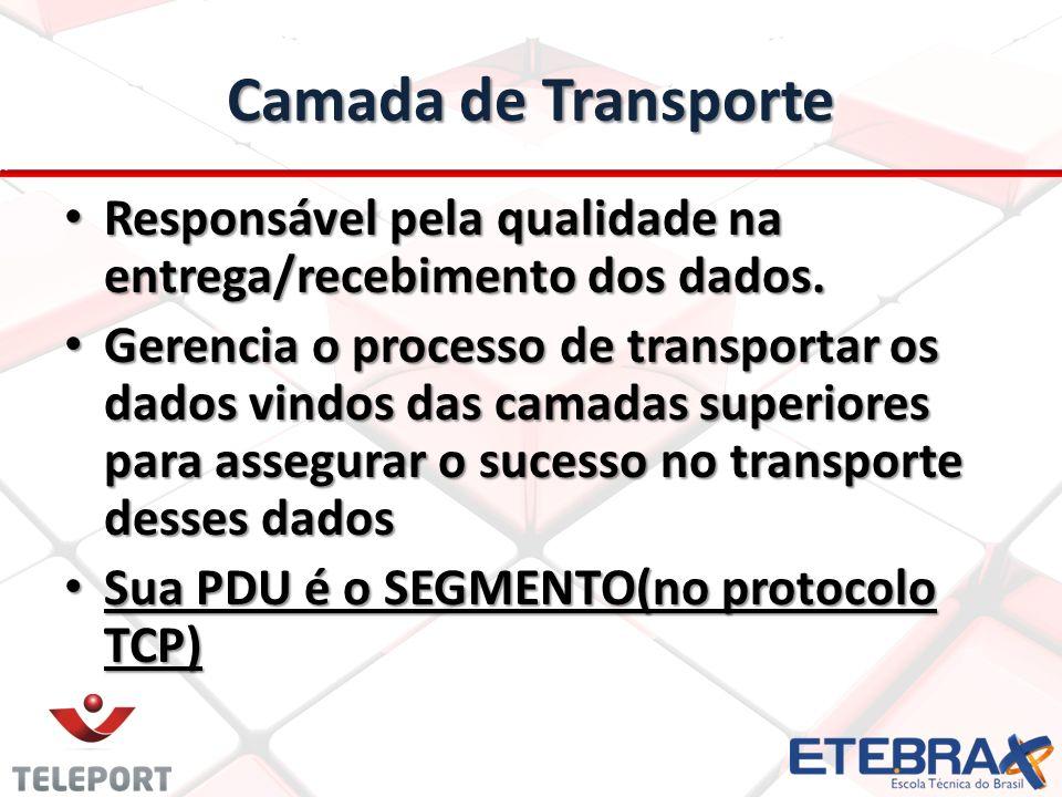 Camada de Transporte Responsável pela qualidade na entrega/recebimento dos dados. Responsável pela qualidade na entrega/recebimento dos dados. Gerenci