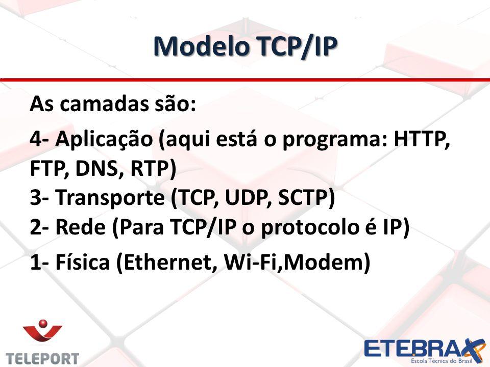 As camadas são: 4- Aplicação (aqui está o programa: HTTP, FTP, DNS, RTP) 3- Transporte (TCP, UDP, SCTP) 2- Rede (Para TCP/IP o protocolo é IP) 1- Físi
