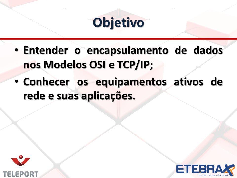 Objetivo Entender o encapsulamento de dados nos Modelos OSI e TCP/IP; Entender o encapsulamento de dados nos Modelos OSI e TCP/IP; Conhecer os equipam
