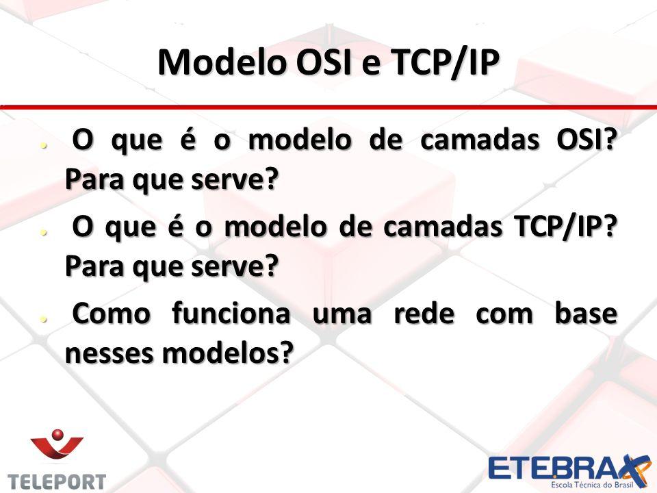 Modelo OSI e TCP/IP O que é o modelo de camadas OSI? Para que serve? O que é o modelo de camadas OSI? Para que serve? O que é o modelo de camadas TCP/