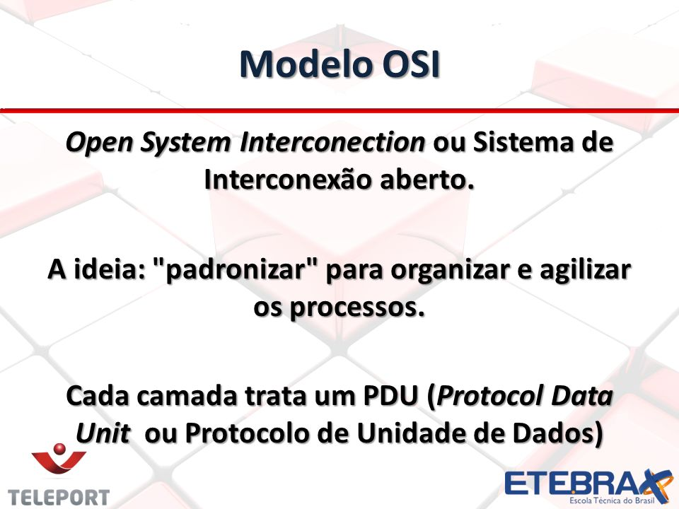 Modelo OSI Open System Interconection ou Sistema de Interconexão aberto.