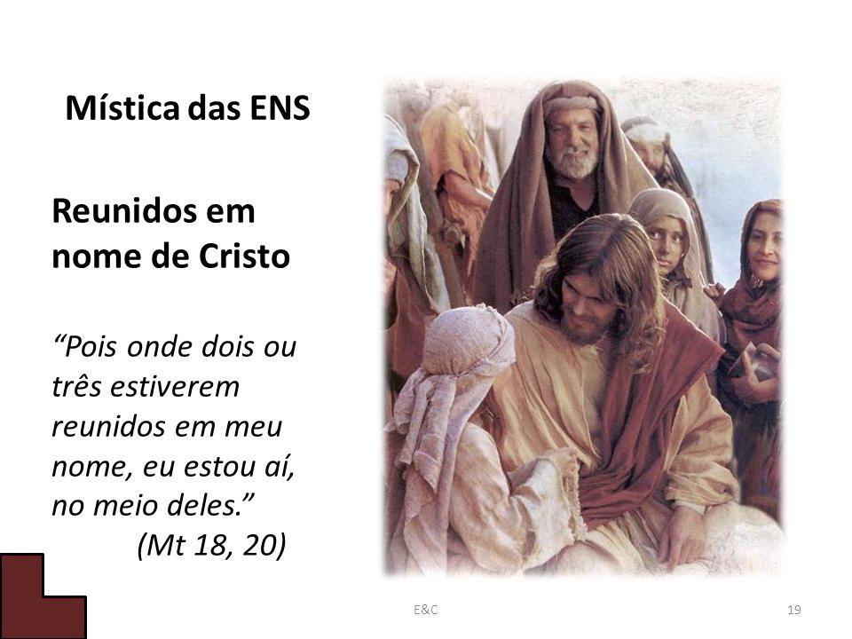 Mística das ENS Reunidos em nome de Cristo Pois onde dois ou três estiverem reunidos em meu nome, eu estou aí, no meio deles.