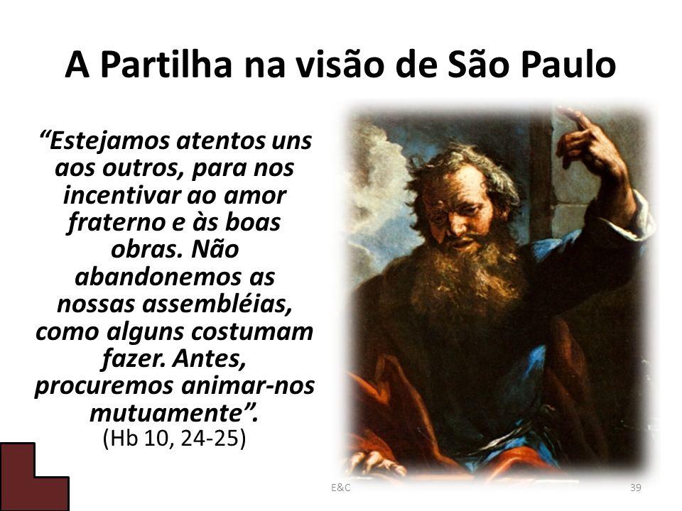 A Partilha na visão de São Paulo Estejamos atentos uns aos outros, para nos incentivar ao amor fraterno e às boas obras.