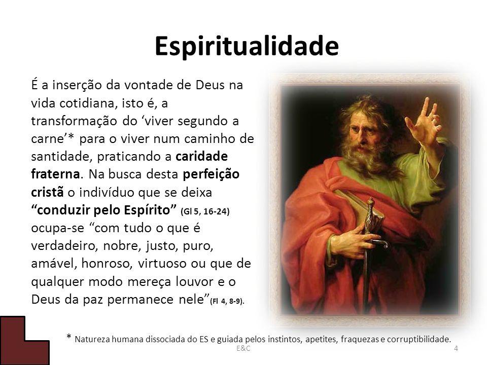 Espiritualidade É a inserção da vontade de Deus na vida cotidiana, isto é, a transformação do viver segundo a carne* para o viver num caminho de santidade, praticando a caridade fraterna.