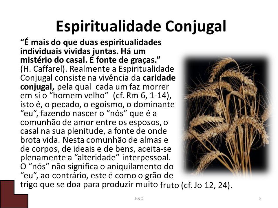 Espiritualidade Conjugal É mais do que duas espiritualidades individuais vividas juntas.