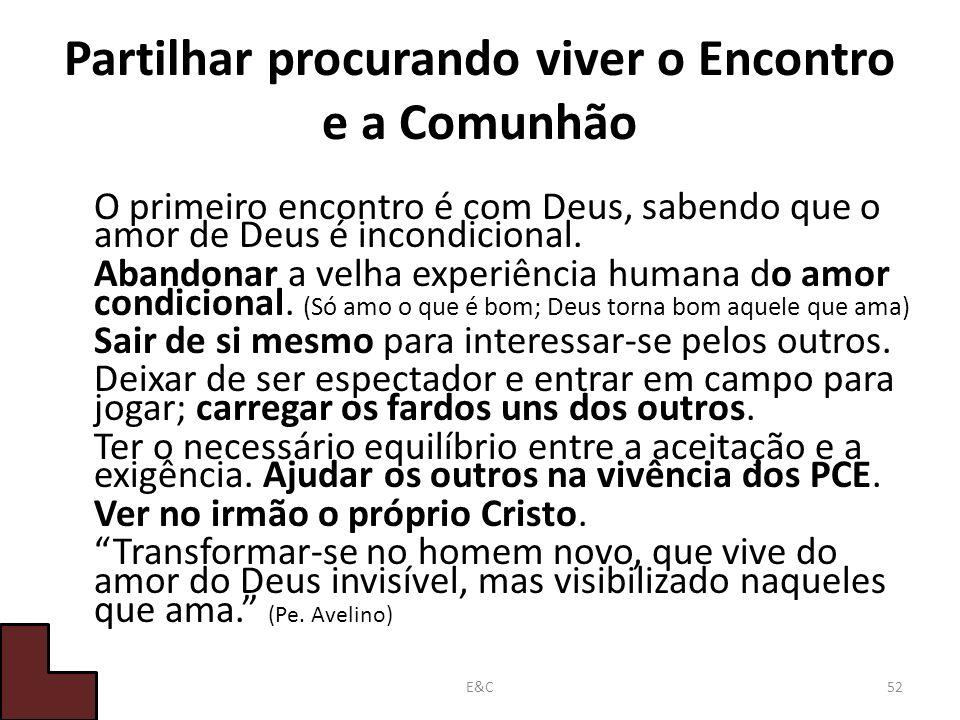 Partilhar procurando viver o Encontro e a Comunhão O primeiro encontro é com Deus, sabendo que o amor de Deus é incondicional.